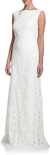 Wedding - Tadashi Shoji Embroidered Boatneck Gown