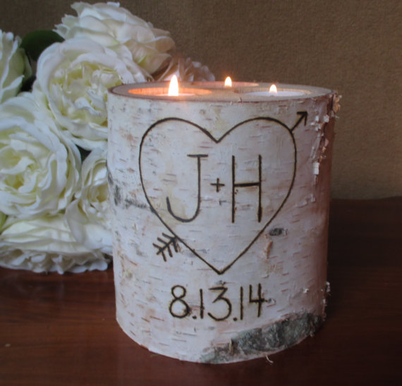 Mariage - Birch  Candle Holder Personalized Valentine Rustic Wedding Centerpieces Wedding Date Bridal Shower Decor Garden Party