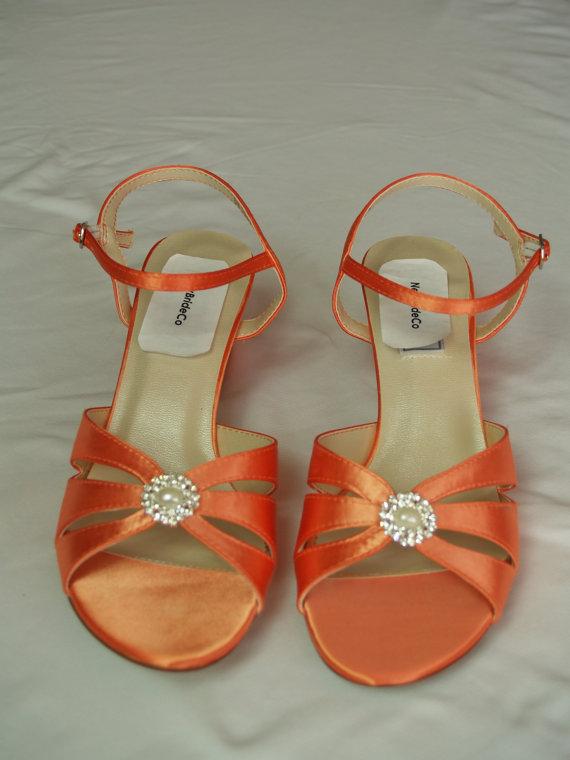 Свадьба - Orange WEDDING Shoes B W WW width comfortable heel 200 colors