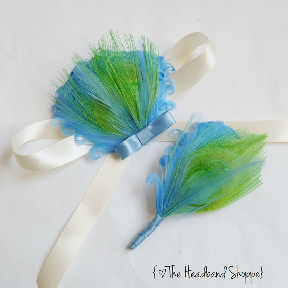 Hochzeit - JESSIE - Feather Wrist Corsage and Matching Boutonniere Set - Perfect for Homecoming or Prom Special Events