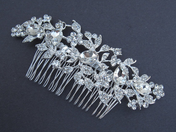 Mariage - Large Rhinestone Bridal Comb,crystal wedding comb,bridal hair comb rhinestone,wedding hair comb,bridal accessories,wedding headpieces