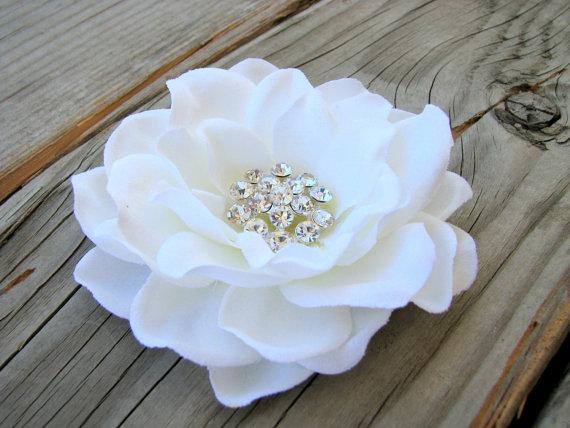 Wedding - Bridal Antique White Gardenia Flower Fascinator Hair Clip Wedding Rhinestone Head Piece Brooch Hat Pin Flower Girl Basket Ring Bearer Pillow