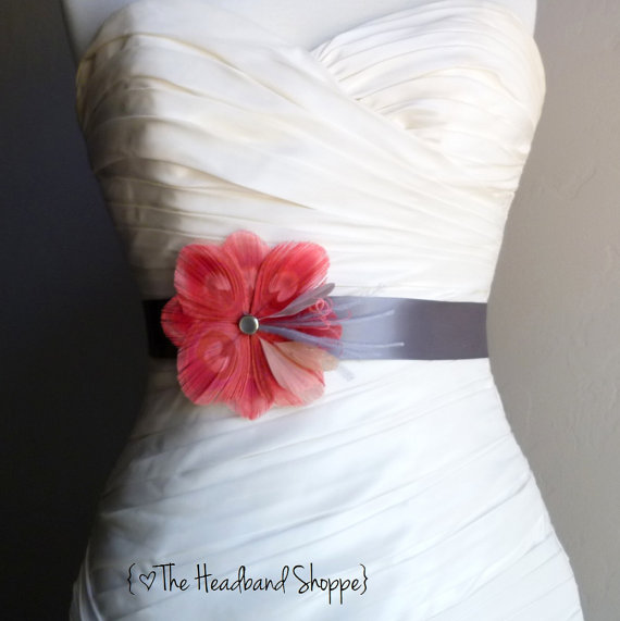 Wedding - Wedding Sash Peacock Belt Bridal Accessory - TUSCANY - Coral Peacock Bridal or Bridesmaids Sash on Charcoal Grey - Made to Order