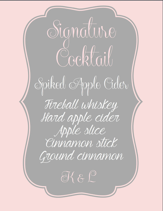 زفاف - Printable, Custom Wedding Reception Signature Drinks Sign.