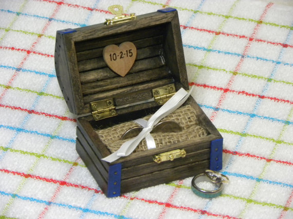 Personalized Ring Bearer Box Treasure Chest is Weathered Wood Finish Blue Trim for Wedding Engagement Proposal or Jewelry Gift Box & Personalized Ring Bearer Box Treasure Chest Is Weathered Wood ... Aboutintivar.Com
