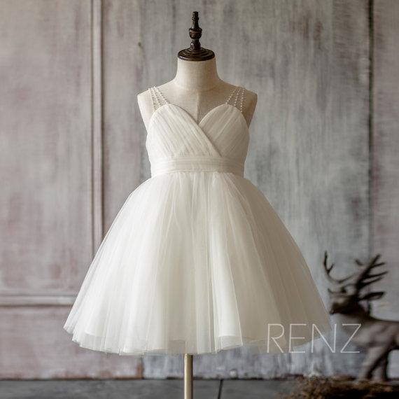 Mariage - 2015 Ivory Junior Bridesmaid Dress, Mesh Beading Strap Flower Girl Dress, Puffy dress knee length (FK315)