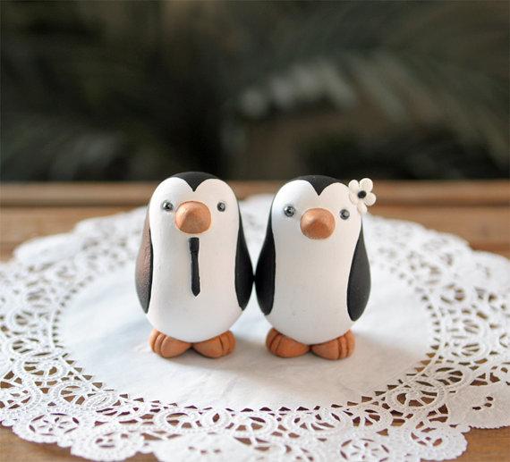 Свадьба - Penguin Wedding Cake Topper - Small