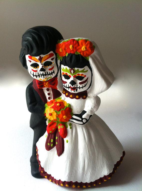 Day Of The Dead Wedding Cake Topper Dia De Los Muertos Sugar Skull Figurine Bride And Groom Fall