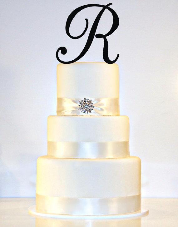"Wedding - 6"" Monogram Wedding Cake Topper in Any Letter A B C D E F G H I J K L M N O P Q R S T U V W X Y Z"