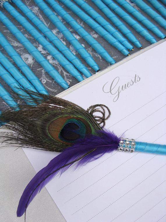 Hochzeit - 1 Peacock Feather Pen in your choice of colors