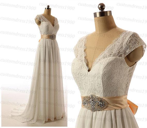 Свадьба - White/Ivory Lace Wedding Dress Handmade Chiffon Cap Sleeve Elegant V-Back Sweep Train Lace Bridal Gowns
