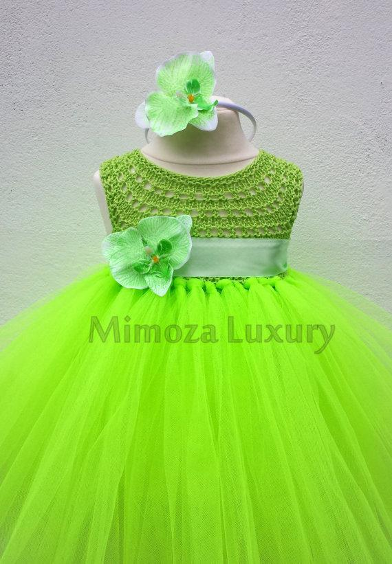 Mariage - Flo Green Orchid Flower girl dress, flo green tutu dress, bridesmaid dress, orchid princess dress, lime orchid tulle dress, yarn tutu dress