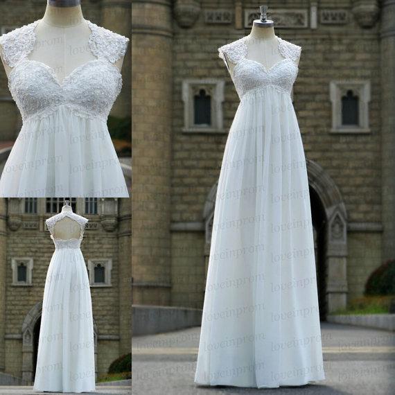 Свадьба - White/Ivory wedding dress,handmade lace/appliqued chiffon wedding dress,long wedding gown/prom dress/wedding party dress