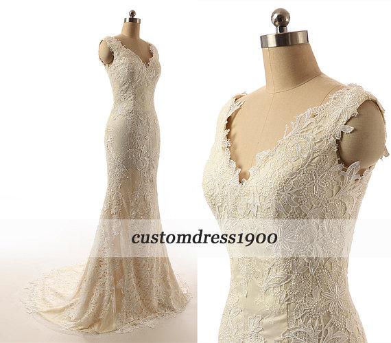 Свадьба - Champagne Cap Sleeve Handmade Mermaid Bridal Gowns Sweep Train White/Ivory Elegant Lace Wedding Dress