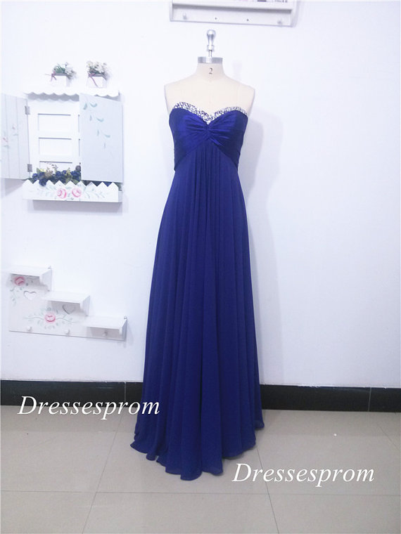 Mariage - Floor length royal blue chiffon prom dress with crystals,2015 elegant women gowns on sale,cheap simple dresses for wedding party.