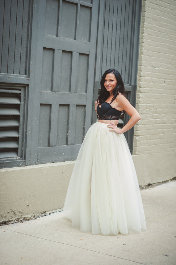 Свадьба - Ivory tulle skirt- tea, midi or floor length tulle skirt, adult tulle skirt, ANY COLOR