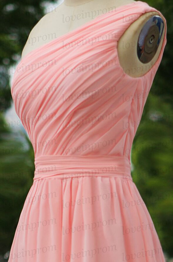 Wedding - Short pink wedding party dress,handmade chiffon bridesmaid dress,pink bridesmaid dress,one shoulder prom dress/party dress