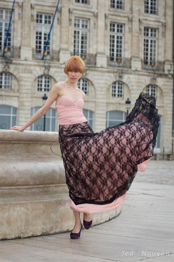 Hochzeit - Black Lace long skirt, detachable lace skirt for convertible dress, make your event lace dress, add a lace long skirt to dress, lace