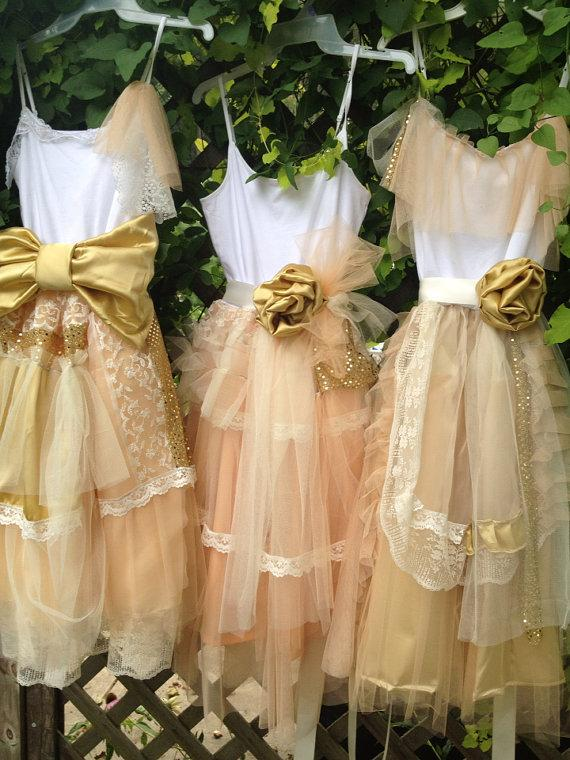 Bridesmaid Peach And Gold Shabby Chic Gown Boho Dress Mix Match Dresses