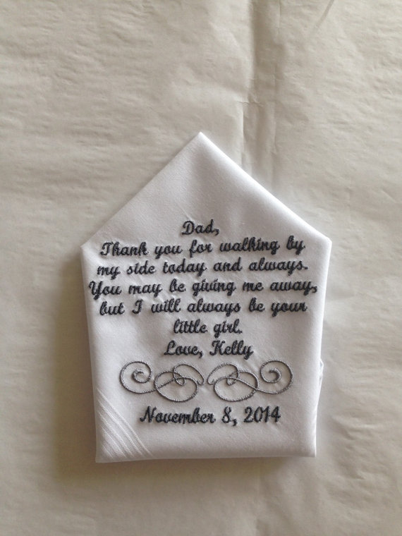 Wedding Gift Ideas Father Of The Bride : ... Father of the Bride wedding Handkerchief gift from bride to her father