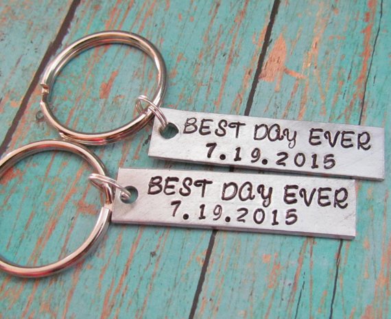 set of 2 couples key chain best day ever date wedding keychains hand stamped personalized anniversary