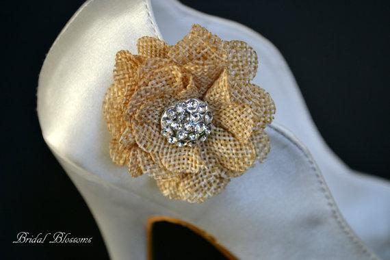 Mariage - Burlap Tan Flower Shoe Clips