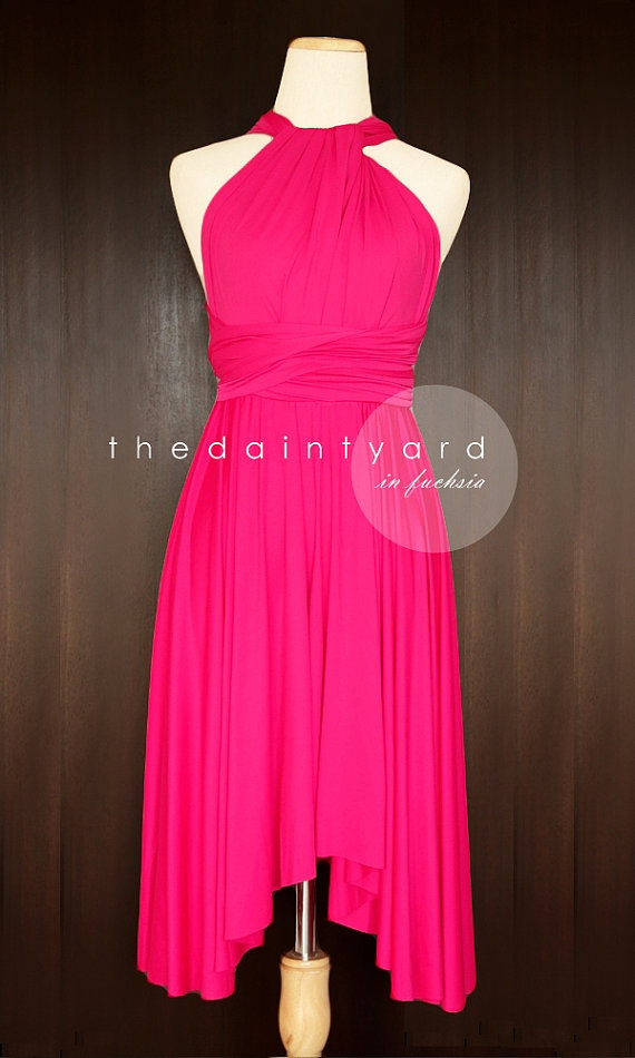 Mariage - Fuchsia Bridesmaid Dress Convertible Dress Infinity Dress Multiway Dress Wrap Dress Wedding Dress Cocktail Dress Twist Dress Evening Dress