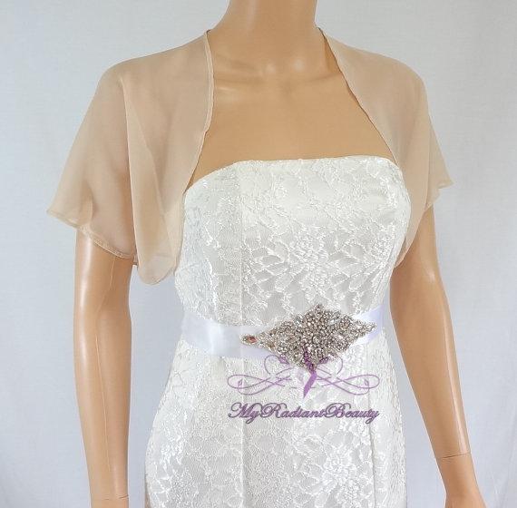 Hochzeit - Champagne Chiffon Jacket, Bridal Bolero, Wedding Bolero Jacket, Chiffon Jacket, Bolero Shrug, Wedding Wrap, Scarf, Bridal Stole SCJ108-CPN