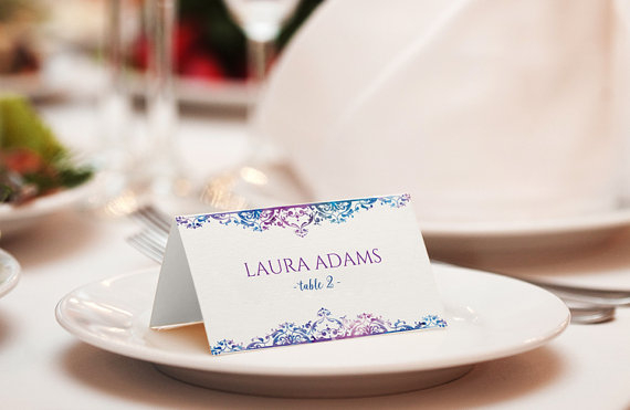 Wedding - Wedding Place Card Template - DOWNLOAD Instantly - EDITABLE TEXT - Natalia (Purple & Blue) Foldover - Microsoft Word Format