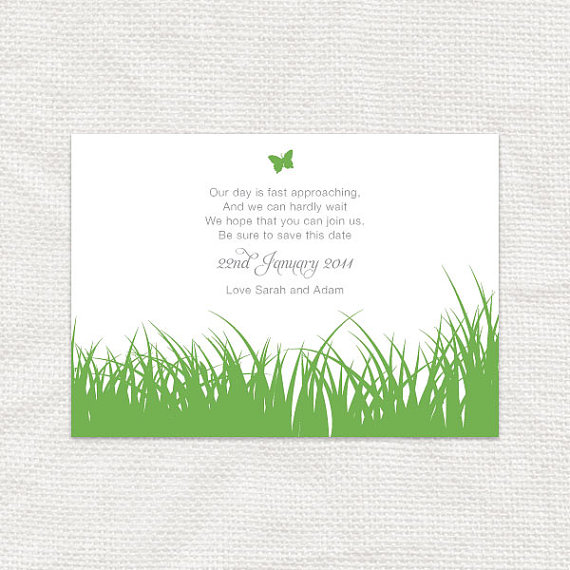 Mariage - save the date postcard printable wedding invitation engagement announcement butterfly garden green nature outdoors summer - spring grass