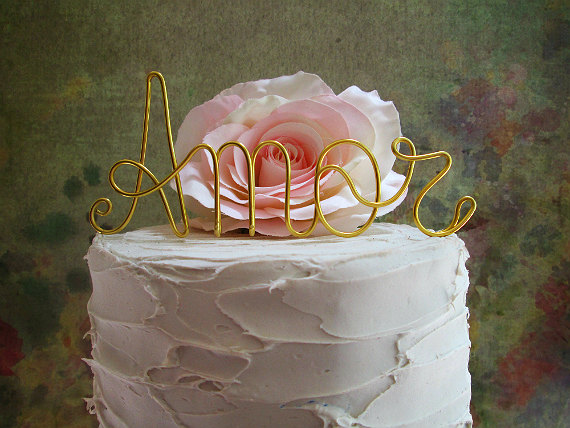 Свадьба - AMOR Cake Topper - Shabby Chic Wedding Cake Topper, Vintage Wedding Cake Topper, Wine Wedding Cake Topper, Rustic Wedding Cake Topper