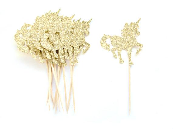 Свадьба - 12 Gold Glitter Unicorn Cupcake Toppers - Unicorn Cupcake Toppers, First Birthday Cupcake Toppers, Girl Cupcake Topper, Fairy Tale Party