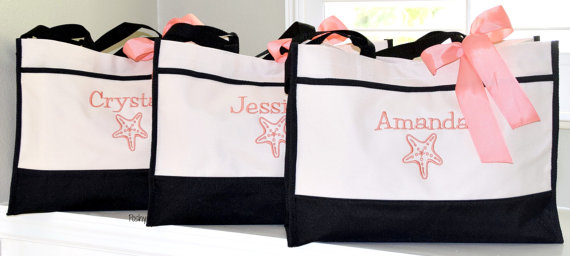 Personalized Starfish Totes Bridesmaid Gifts Wedding Bridesmaids Tote Monogrammed Beach