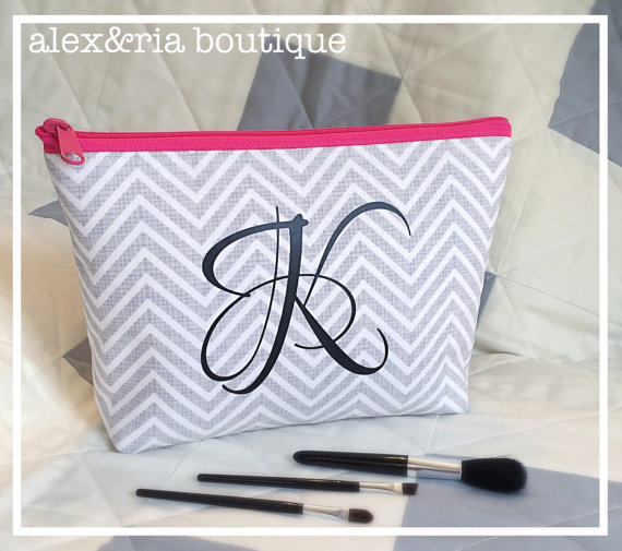 Wedding - Personalized Cosmetic Bag Bridal Party Gift Grey Chevron Bridesmaid Maid of Honor Gift Travel Pouch Open Wide Zippered Makeup Bag Christmas