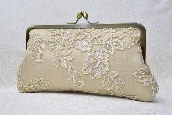 bf020f1e91 Champagne Lace Pearl Bridal Clutch, Gold Bridal Clutch, Ivory Formal Purse,  White Clutch, Lace Wedding {French Lace & Pearl Bridal Kisslock}