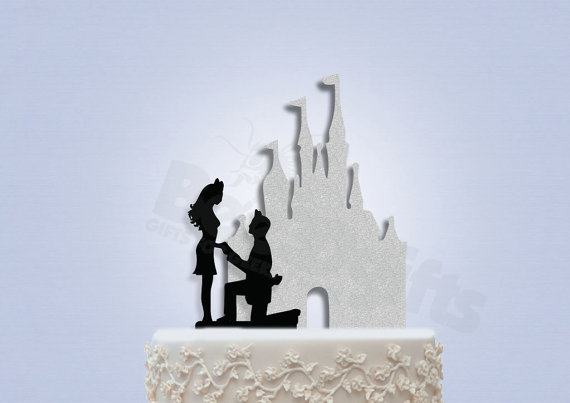 Свадьба - Disney Inspired Proposing in Front of Castle Wedding Cake Topper (Castle and Couple included)
