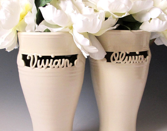 Mariage - Custom made vase carved with a single name - Made to Order -