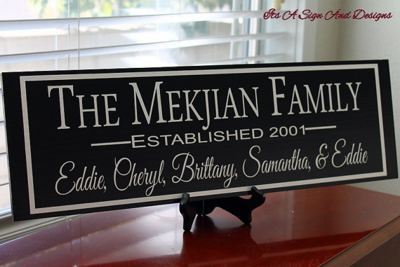 Unique Parent Wedding Gift Ideas: Custom Family Sign, Personalized Anniversary Gift, 5th
