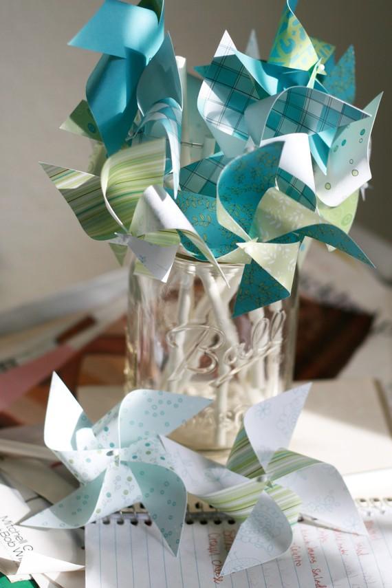 Свадьба - Wedding Pinwheels 12 Mini Pinwheels Ocean Love  (Custom orders welcomed)