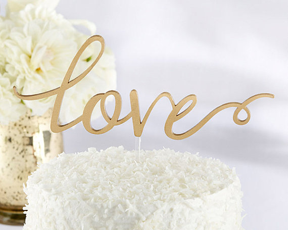 Mariage - Gold Love Cake Topper Cut Out Gold Script Cake Topper Wedding Cake Topper Reception