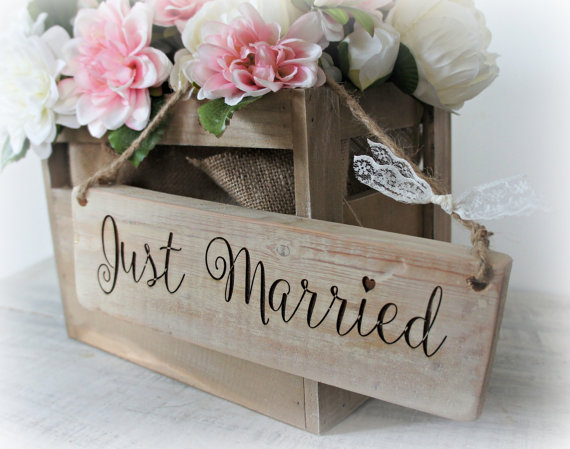 Wedding - rustic shabby chic reclaimed wood wooden engraved Just Married sign - wedding plaque