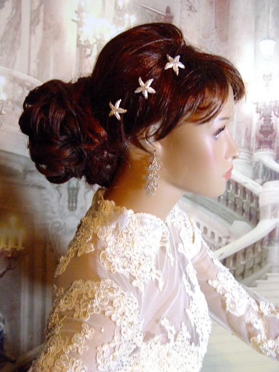 Mariage - Silver Crystal Starfish Hair Pins, Starfish Headpiece, Starfish Hairpin, Beach Wedding