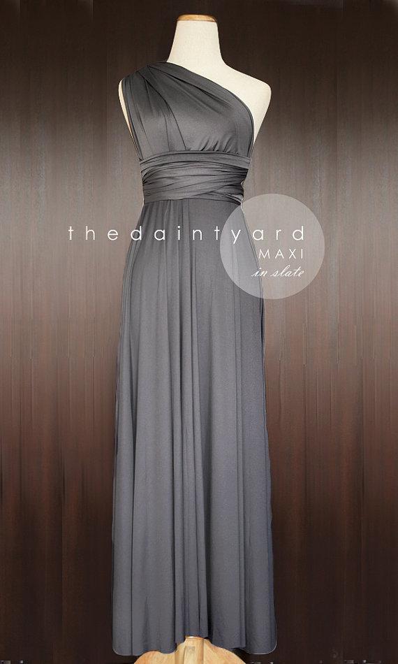 7258bcbc65b7 MAXI Slate Bridesmaid Dress Convertible Dress Infinity Dress Multiway Dress  Wrap Dress Prom Dress Full Length Dress Wedding Dress Cocktail