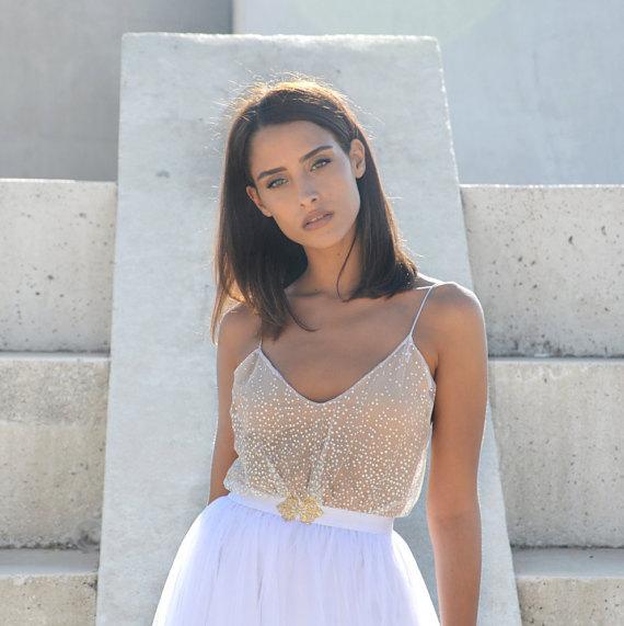 زفاف - Maxi wedding dress, Tulle skirt doted top, boho wedding dress, simple wedding dress, golden jewelry belt
