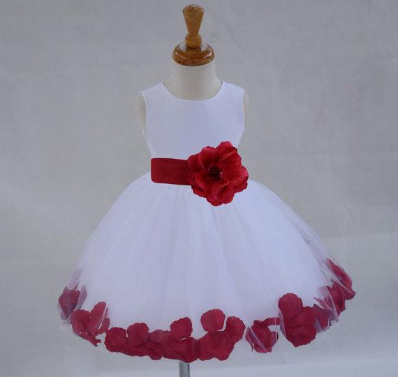 d55e3a2bd7a2 White Flower Girl dress sash pageant petals wedding bridal party children  bridesmaid toddler elegant sizes 6-18m 2 3 4 5 6 8 10 12 14