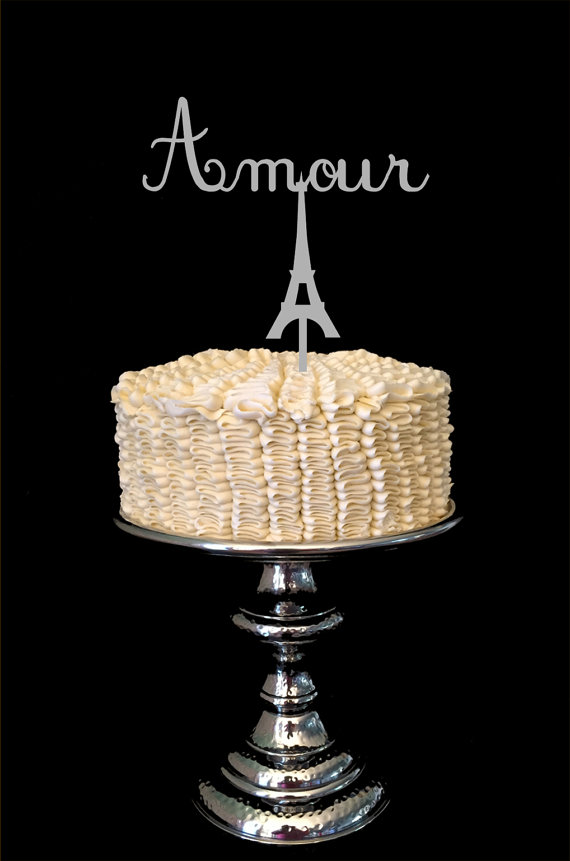 Mariage - Amour French Eiffel Tower Wedding Cake Topper