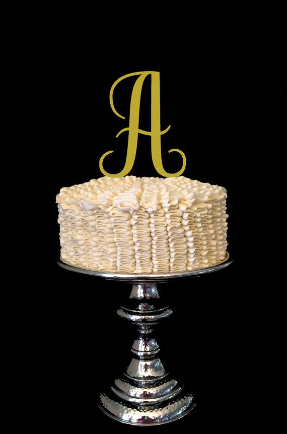 Mariage - Wood Monogram Wedding Cake Topper Single Letter