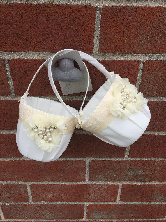Hochzeit - Two Flower girl baskets / ivory or white / chiffon puff with rhinestones / best seller / custom colors