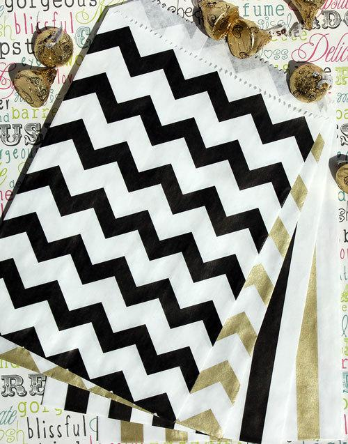 Wedding - 100 Black and Gold Metallic Chevron and Striped Party Favor Bags, Wedding Candy Bags, Wedding Favor Bags, Popcorn Bags,