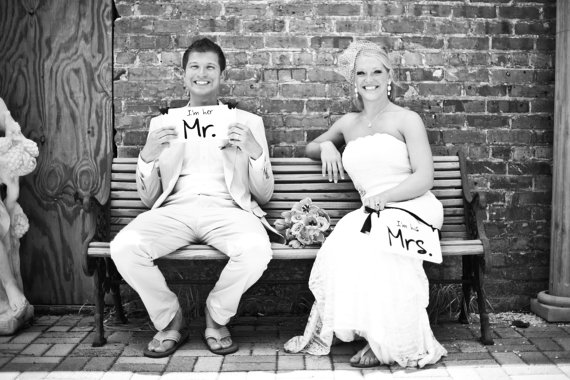 Свадьба - Wedding Chair Signs, I'm her Mr. & I'm his Mrs. with I do Me Too on the back.  6x12 inches, Crisp Paint, 2-sided Photo Prop.